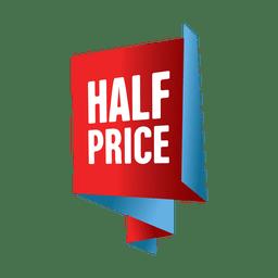 Etiqueta de venta a mitad de precio