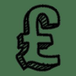 Dibujado a mano icono de libras 3d