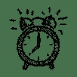 Dibujado a mano icono de reloj de alarma