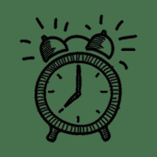 Dibujado a mano icono de reloj de alarma Transparent PNG
