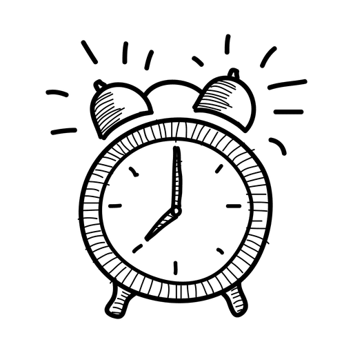 Hand drawn alarm clock icon Transparent PNG