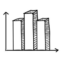 Dibujado a mano gráfico de barras
