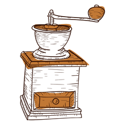 Hand drawn coffee grinder