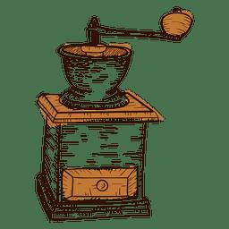 Mano molinillo de café dibujado