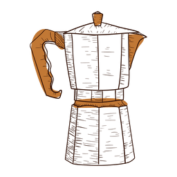 Hand drawn coffee maker