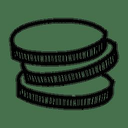 Icono de monedas dibujadas a mano