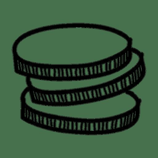 Mão, desenhado, moedas, ícone Transparent PNG