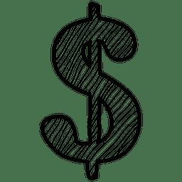 Dibujado a mano icono de dólar