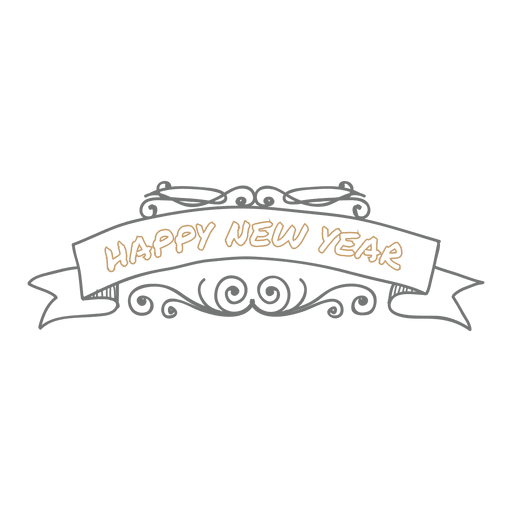 Hand drawn new year doodle Transparent PNG