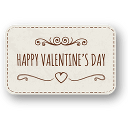 Hand drawn valentine day label