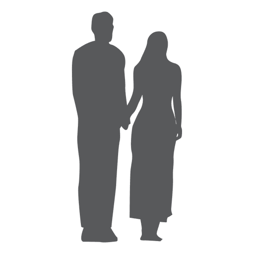 Happy couple silhouette in gray Transparent PNG