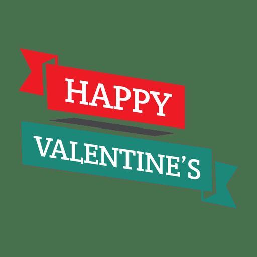 Happy valentines ribbon badge Transparent PNG