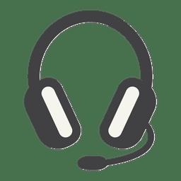 Ícone plano de fone de ouvido com curso grosso
