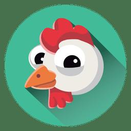 Icono de círculo de dibujos animados de gallina