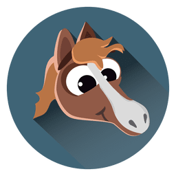 Horse cartoon circle icon