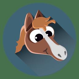 Icono de círculo de dibujos animados de caballo