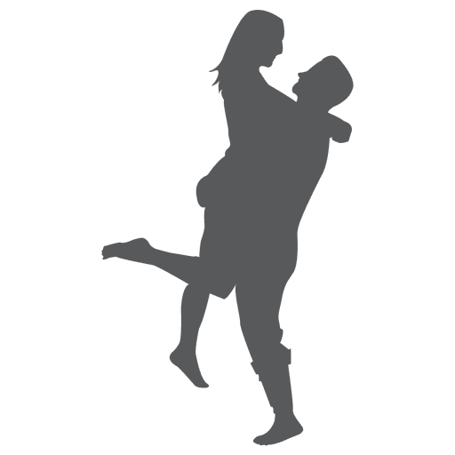 Hugging couple silhouette
