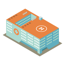 Isometric 3d hospital building