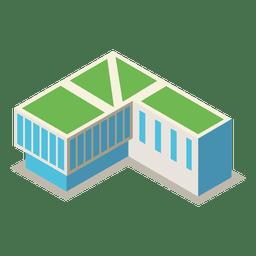 Edificio de la biblioteca isométrica 3d