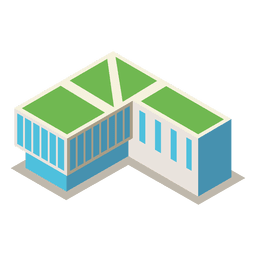 Isometric 3d library building
