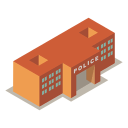 Isometric 3d police station