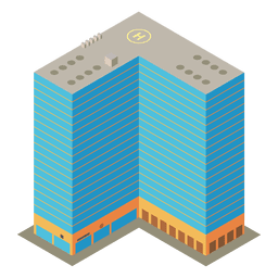Isometric appartment complex building