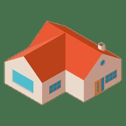 Isometrisches flaches Hausgebäude
