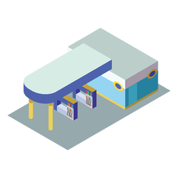Icono isométrico de la estación de gas