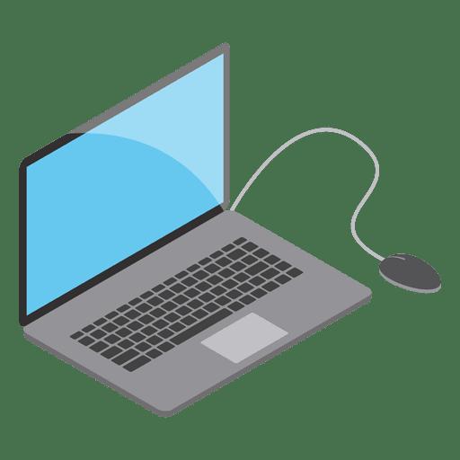 Computadora portátil isomérica con ratón. Transparent PNG