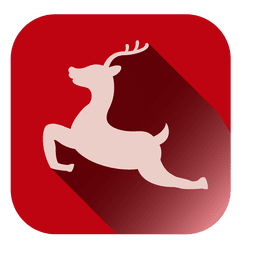 Jumping reindeer square icon