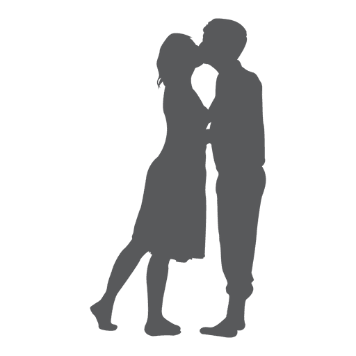 Kissing romance lovers silhouette Transparent PNG