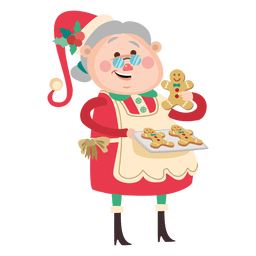 Lady santa baking gingerman cookie