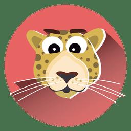 Icono de círculo de dibujos animados de leopardo