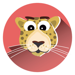 Leopard cartoon circle icon