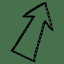 Flecha lineal en ángulo de dibujo
