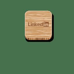 Icono cuadrado de madera de Linkedin