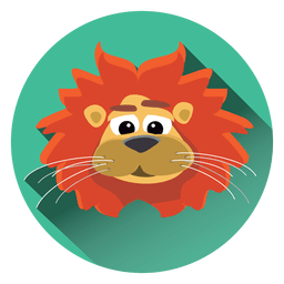 Lion cartoon circle icon
