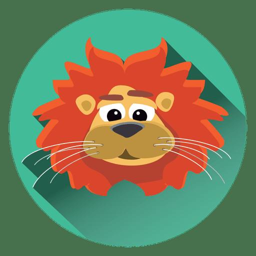 Lion cartoon circle icon