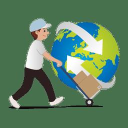Homem entregando globalmente