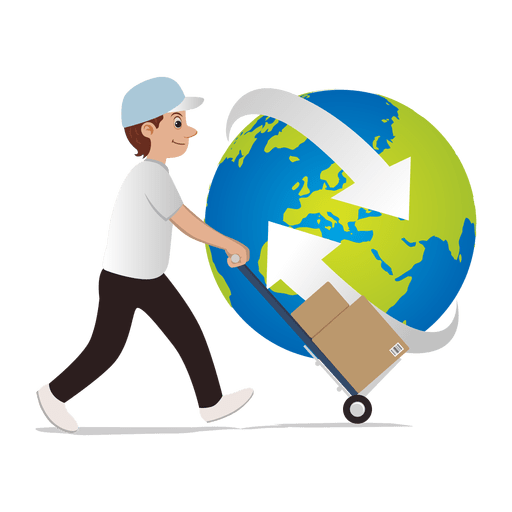 Man delivering globally Transparent PNG