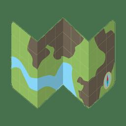 Icono de kit de viaje de mapa