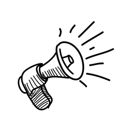 Icono de megáfono dibujado a mano