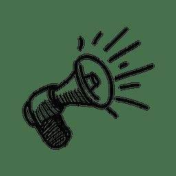 Megaphon Hand gezeichnete Ikone