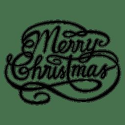 Feliz logotipo caligráfico de la Navidad