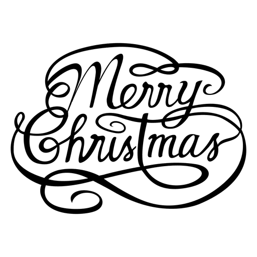 Merry christmas calligraphic logo Transparent PNG