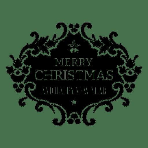 Christmas Lettering Badge On White Background