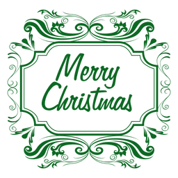 Merry christmas green label