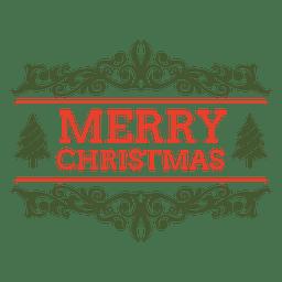 etiqueta adornada de la Feliz Navidad