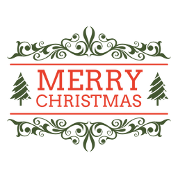Merry christmas ornamented label
