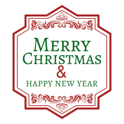Merry christmas rectangular label